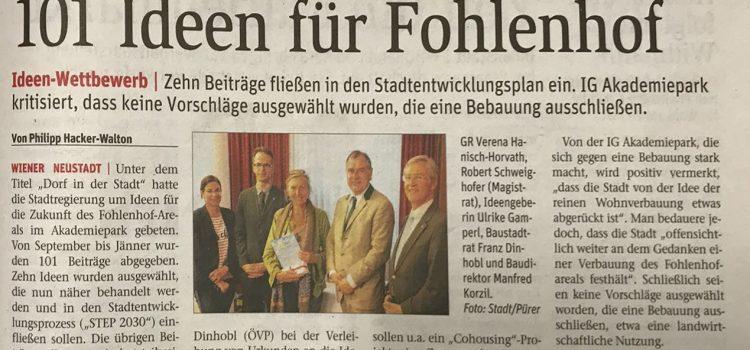 """Presseaussendung zur Urkundenüberreichung Ideenwettbewerb """"Dorf in der Stadt"""""""
